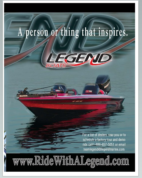 Magazine photo of one of our Legend boats in a Legend Boats Add